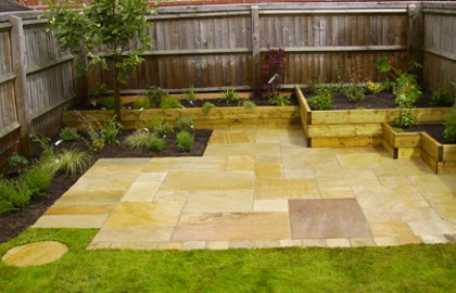 Modern patio in sandstone paving - Oxton, Wirral